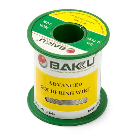 Припій BAKU BK 10005, Sn 97% ,Ag 0.3%, Cu 0.7%, Flux 2%, 0.5 мм, 100 г
